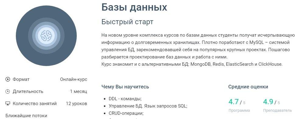 "Онлайн курсы программирования ""Базы данных"""