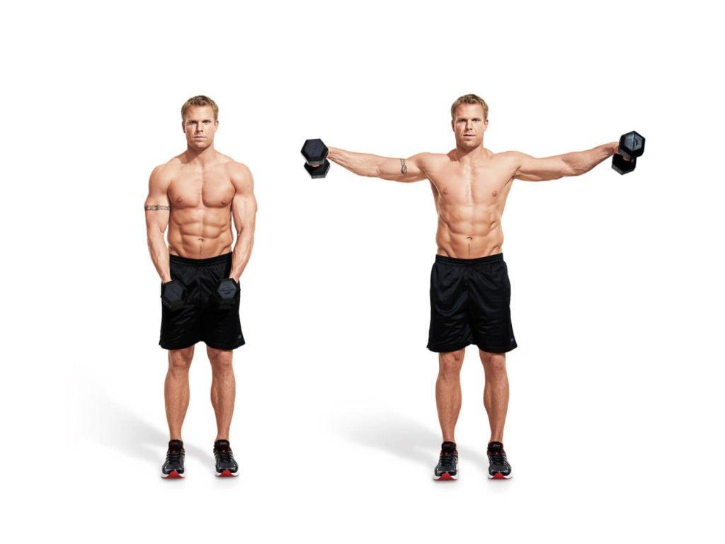 Махи руками с весом - отличное упражнение для плеч с домашним инвентарем инвентарем